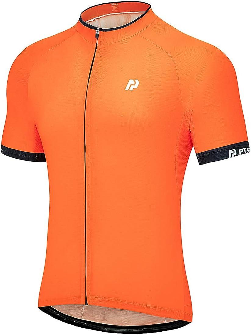 PTSOC Men's Basic Cycling Jerseys Tops Biking Shirt with 3 Rear Pockets