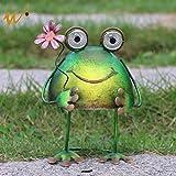 W-DIAN solar metal art outdoor Patio decorative Animal garden decor LED lawn Metal Decorative frog Statue