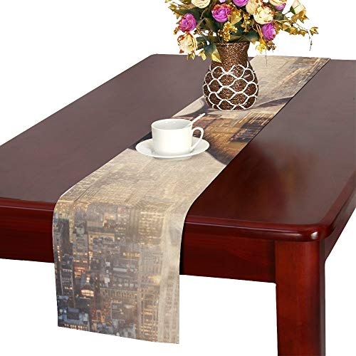 YUMOING Close Up of Electric Guitar On Modern Sideways Cit Table Runner, Kitchen Dining Table Runner 16 X 72 Inch for Dinner Parties, Events, Decor -