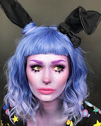 Alacos Fashion Harajuku Lolita 35cm Short Curly Bob Cut Christmas Halloween Synthetic Anime Cosplay Wig for Women +Free Wig Cap (Blue Light Purple Ombre) -