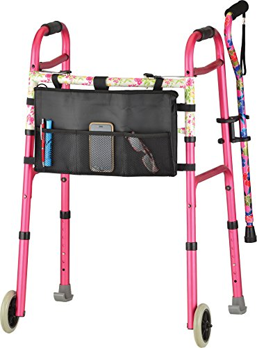 NOVA Designer Folding Walker with Cane and Accessories, Pink by NOVA Medical Products