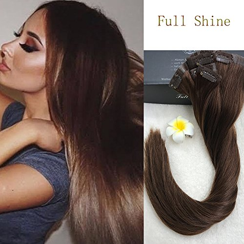 "Full Shine 8 Pieces 20"" 7A Grade 120g Seamless Human Hair Clip in Extensions Full Head Skin Weft Pu Tape in Human Hair Extensions Chocolate Brown Color #4 Full Head Clip in Hair Extensions Real Hair"