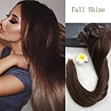 "Full Shine 8 Pieces 22"" 7A Grade 120g Seamless Remy Full Head Clip in Extensions Human Hair Clip on Extensions Dark Brown Color #4 Skin Weft Hair Extensions With Clips Sewn on"