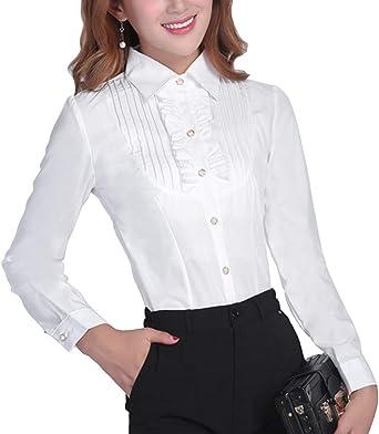 binin Box mujer cuello de camisa blusa elegante Slim Fit para mujer con Arrugas volantes Business OL