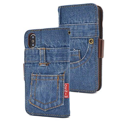 借りている日曜日放映PLATA iPhone X/Xs ケース 手帳型 クラッシュ デニム スタンド ジーンズ カバー 【 B ブルー 】 IPX-5105-B