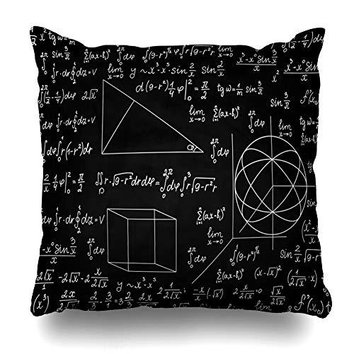 (Ahawoso Throw Pillow Cover Physics Equation School Mathematical Elementary Formula Mathematics Math Chalkboard Quantum Mechanics Home Decor Pillow Case Square Size 18 x 18 Inches Zippered Pillowcase)
