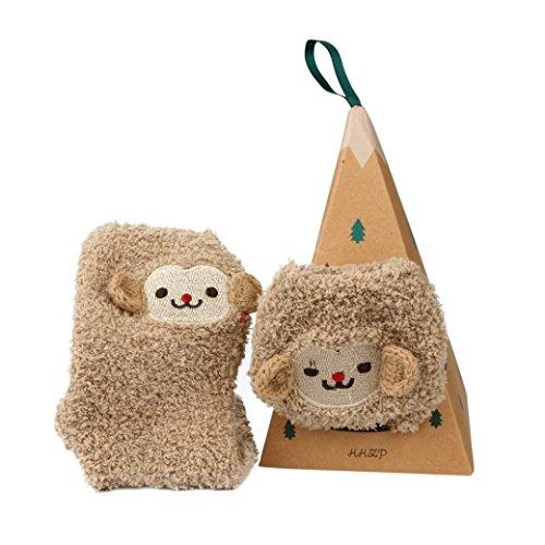 Winter Women Girl Christmas Socks,Soft Coral Velvet Embroidery Warm Home Slipper Stocking Cartoon Novelty Socks Gift (30_x_9_cm, Monkey)