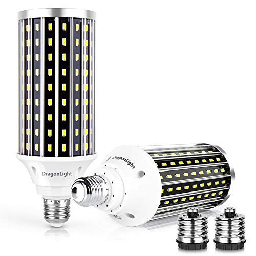 (2 Packs 50W Super Bright LED Corn Light Bulbs(350Watt Equivalent) - E26 with E39 Mogul Base Adapter - 6500K Daylight 5000Lumens for Large Area Commercial Ceiling Light - Garage Workshop Etc.[2019 New])
