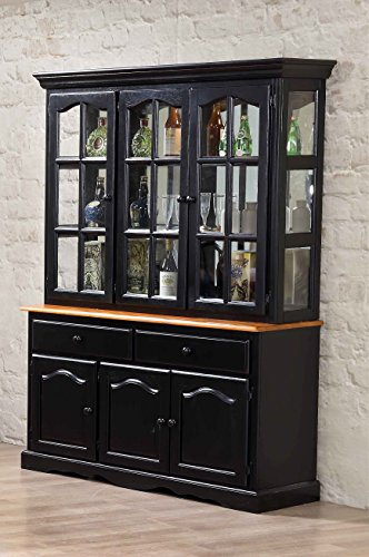 - Sunset Trading Treasure Buffet and Lighted Hutch, Black/Cherry Finish