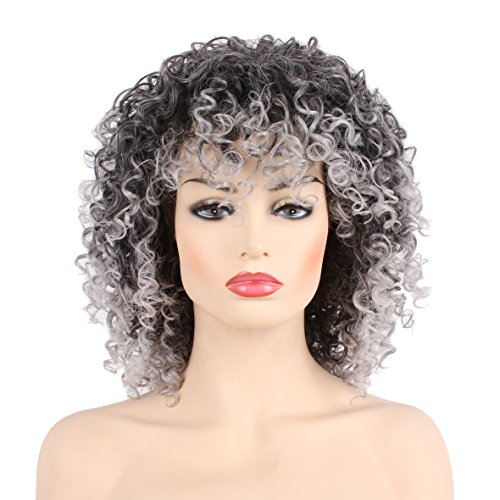 Search : Short Afro Puff Curls Wig for American African Women Afro Kinky Curly Hair wigs with Wig Cap Black Mixed Gray Color