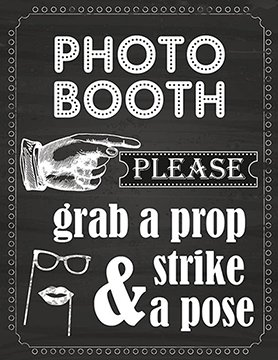 Photo Booth Prop Sign Printed on 65 Lb Card Stock White (Photo Sign Booth)