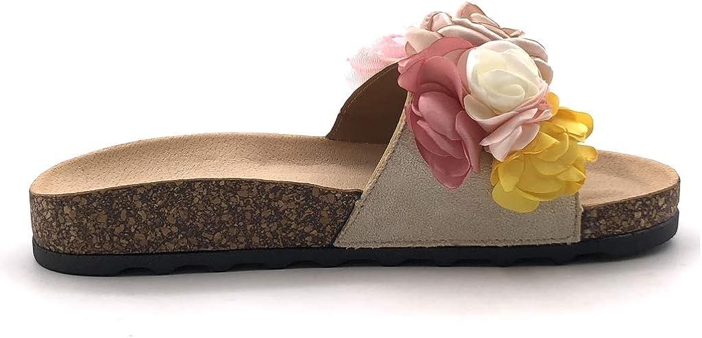 Chaussures Femme Chaussure Mode Mule Tong Romantique Ouvert Confortable Femme Fleurs Talon Plat 3 Cm Angkorly Chaussures Et Sacs Bizotik In