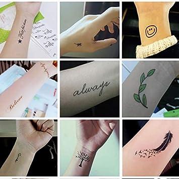 HNSYDS Pegatinas de Tatuaje diseño de Letras sonrientes, para ...