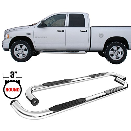 Side Step Bars Fits 2001-2018 Chevy Silverado GMC Sierra Crew Cab | T304 Stainless Steel Finish Running Boards Nerf Bars By IKON MOTORSPORTS | 2002 2003 2004 2005 2006 2007 2008 2009 2010 2011 2012