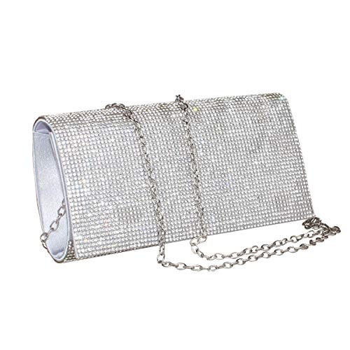 Womens Rhinestone Clutch Crystal Evening Bags Wedding Party Cocktail Purse Handbag. (silver-1)