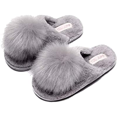 C'wait Womens Pompoms Plush Warm Slippers Indoor House Home Slippers (8, Gray) | Slippers