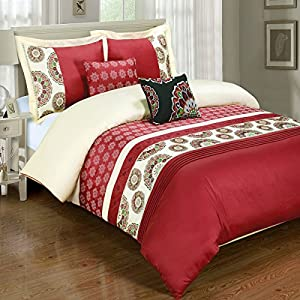 Deluxe Reversible Chelsea Duvet Cover Set, 100% Cotton 300 Thread Count Bedding, woven with superior single-ply yarn. 5 Piece Full / Queen Size Duvet Cover Set, Red and Ivory