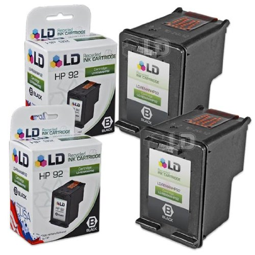 (LD Remanufactured Ink Cartridge Replacement for HP 92 C9362WN (Black, 2-Pack))