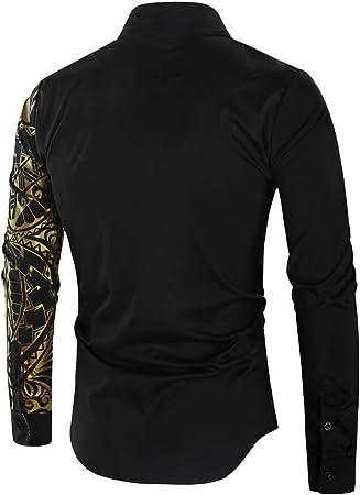 Jinyaun Camisas Hombre Camisa Negra Dorada Camisa Masculina De Manga Larga Slim Fit Camisa De GraduacióN Social Men Club Negra para Hombres(M-XXXL)