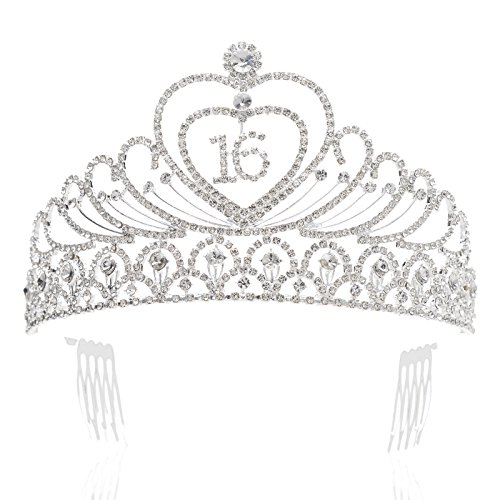 SWEETV Sweet 16th Birthday Crown Party Hats Headband Rhinestone Tiara Girl Hair Accessories, -