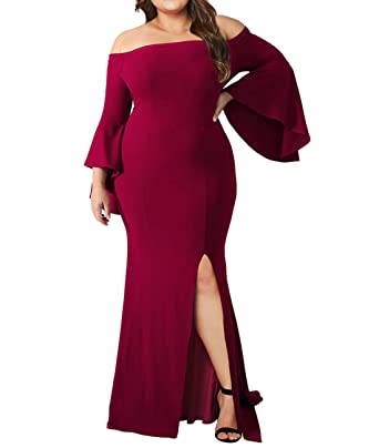 Urchics Womens Plus Size Off Shoulder Party Dress Mermaid Evening Gown Red  XL