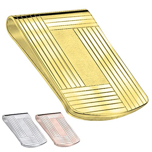 Large Sterling Silver .925 Elegant Solid Stripe Design Engravable Money Clip, Designed and Made In Italy (Gold)