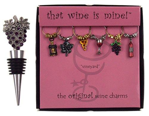 Grapes Bottle Stopper & Vineyard Wine Charms Bundle
