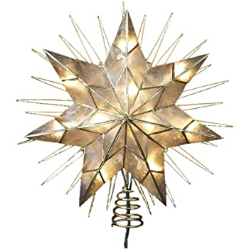 "Kurt Adler 14"" 7-Point Natural Capiz Star Lighted Treetop"