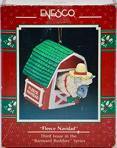 1990 Enesco Corp - Fleece Navidad Ornament - Treasury of Christmas = 3rd Issue in Series - Collectible
