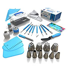 Frostinc Perfectly Assorted Cake Decorating Supplies 34 Pcs Kit - 10 Russian & Cone Icing Tips with 2 Couplers, 2 Reusable & 6 Disposable Piping Bags, 8 Model Tools, Scrapers & BONUS Items 16 ✅ PERFECTLY ASSORTED - Why buy expensive store-bought cakes? Frostinc provides all the cake tools you need to shape and decorate cake after cake with the added ENJOYMENT for less. Create the most diverse cake frosting designs with us. Unlike other kits, we've specially selected cake decorating supplies for your kitchen in this AMAZING bundle - achieve the best results to wow your friends and family. ✅ GREAT TASTE - When it comes to cake and cupcake decorating, you need the right tools in one set. Pipe and decorate with 4x russian icing tips, 6x cone icing tips, 2x couplers, 8x modelling tools, 2x heavy-duty reusable and 6x lightweight disposable piping bags, 3x cake levellers, 1x cupcake corer, 1x mini spatula, 1x instruction manual, 1x storage box and a complimentary cleaning brush. ✅ FREE GUIDE INSIDE - Buying for a child with no experience whatsoever? With such a GREAT selection of cake modelling and shaping tools, we want the task to be easy for you and those receiving your gift. Rest assured that our kit arrives with a printed instruction manual in addition to a handy ebook containing tips & recipes emailed directly to you. All of our kits have a LIFETIME WARRANTY so that you can decorate in confidence.