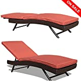 PATIOROMA Outdoor Chaise Lounge Chair, Adjustable Pool Rattan Chaise Lounge Chair, Espresso Brown PE Wicker,Steel Frame, 2 Set, Plus 2 Free Pillows