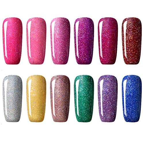 CLAVUZ Gel Nail Polish Kit Soak Off UV LED 12pcs Neon Bling Nail Varnish Fashion Shimmer Nail Art Manicure Pedicure Decor Gift Set