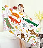 homehot Boys Large Bath Towel Jolly Cartoon Animals Colorful Flowers and Hearts for Cheerful Babies and Children Adults Soft Absorbent Quick Dry Blanket Multicolor