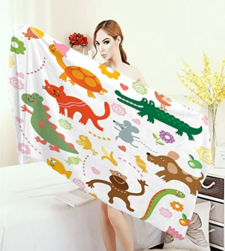 homehot Boys Large Bath Towel Jolly Cartoon Animals Colorful Flowers and Hearts for Cheerful Babies and Children Adults Soft Absorbent Quick Dry Blanket Multicolor by homehot