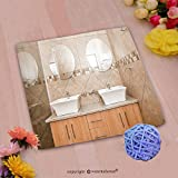 VROSELV Custom Cotton Microfiber Ultra Soft Hand Towel-the interior of the bathroom of a brand new house showing the double basins mirrors and shower Custom pattern of household products(20''x20'')