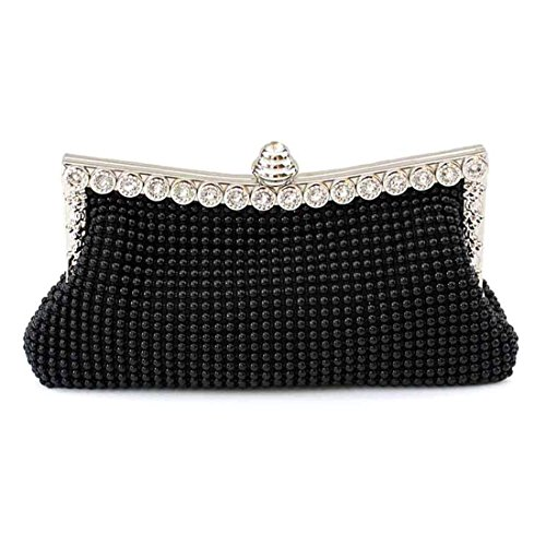 Crystal Black Ladies Black Satin for Party Beautiful Bag Wedding Clutch Sparkly Handbag Womens Evening tqHWEApxOO