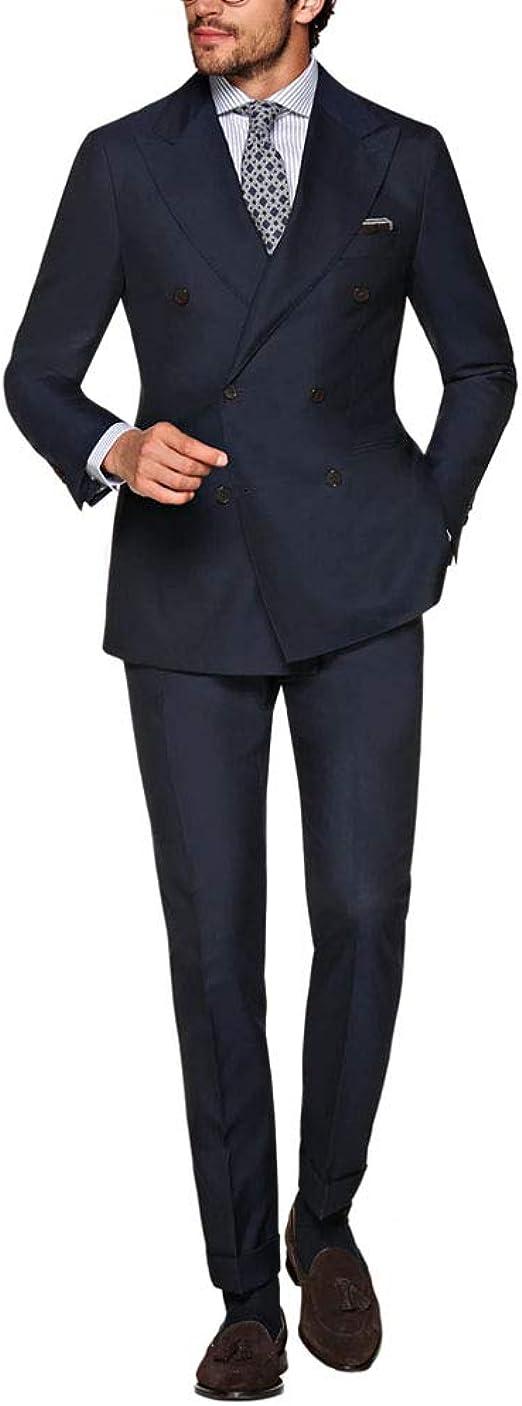 Michealboy Mens Tne Button Slim Fit Stripe Suit Blazer+Pants