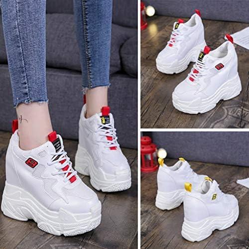 Mujer Zapatillas de Deporte Cu/ña Zapatos para Caminar Aptitud Plataforma Sneakers con Cordones Calzado de Tac/ón 4cm Oro EU 39