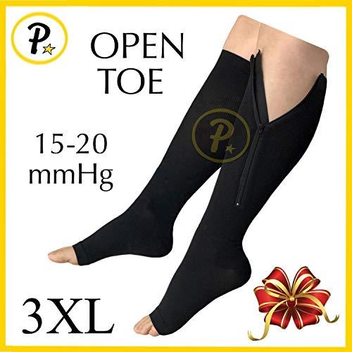NEW (BIG & TALL 3XL) Open Toe Knee Length Zipper Up Compression Hosiery Calf Leg Support Stocking Stocks (Black)