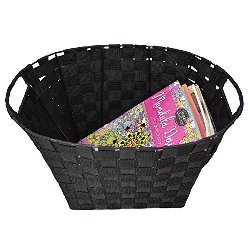 Black Oval Basket (Set of 2 Woven Baskets for Storage - Fabric Strap Shelf Bin for Closets, Bedroom, Playroom (Oval 17 x 13 x 9, Black))