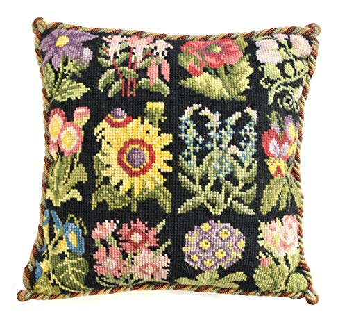 Cottage Garden Favourites Needlepoint Kit by Elizabeth Bradley. A Premium English Needlepoint Pillow Project on a Black Background with 100% Wool -