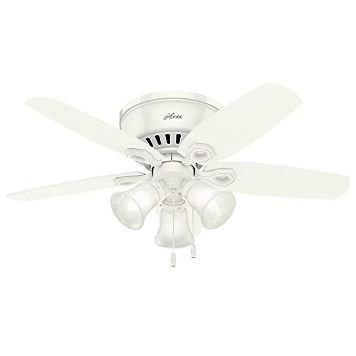 Hunter Indoor Low Profile Ceiling Fan, with pull chain control – Builder 42 inch, White, 51090