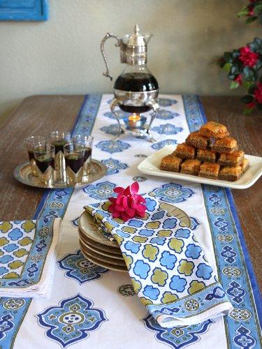 Casablanca ~ Moroccan Theme Style White Quatrefoil Print Napkins by Saffron Marigold