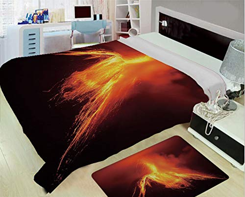 - iPrint Super Light and Warm Flannel Warm Sofa or Bed Blanket,Volcano,Tungurahua Volcano in Ecuador Exploding at Night Nature and Geology,Orange Yellow Black,One Side Printing,Excess Value