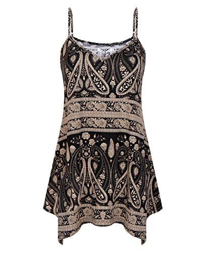 SOLERSUN Womens Summer Sleeveless V Neck Spaghetti Strap Printed Cami Swing...