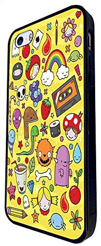 1197 - Kids Drawing Monster Drink Candy Rainbow Cute Design iphone SE - 2016 Coque Fashion Trend Case Coque Protection Cover plastique et métal - Noir
