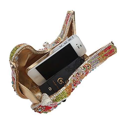 For Bonjanvye Clutch Colorful Bag Glitter Blue Girls Purple Rhinestone Bird Purses Evening SAAwp01xq