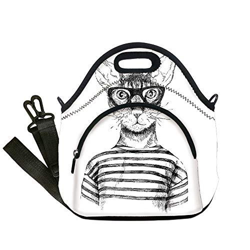 Insulated Lunch Bag,Neoprene Lunch Tote Bags,Cat,Hand Drawn Dressed Up Hipster New Age Cat Fashion Urban Free Spirit Artwork Print Decorative,Black White,for Adults and children