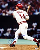 Pete Rose Cincinnati Reds Autographed PSA/DNA Authenticated 16x20 Photo Batting with Blonde Bat - Signed Photos