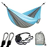 There are a lot of camping hammocks to choose from on Amazon. Why do you choose from us?      Comfortable Hammock: The hammock is made of super strong and quick-drying 210T parachute nylon material,so it's very lightweight. This breathable an...